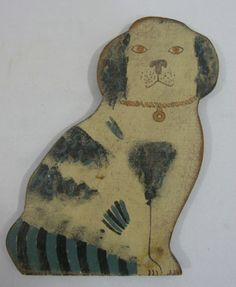 BEAUTIFUL & COLORFUL ANTIQUE AMERICAN FOLK ART DOG PAINTING CARVING              ~♥~