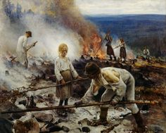 Eero Järnefelt, Kaski/Raatajat rahanalaiset (Burning the Brushwood/Under the Yoke), oil on canvas Ateneum Art Museum, Helsinki, Finland. National romantic art but considered realism art by public. Inspirational Artwork, Oil On Canvas, Canvas Prints, Art Prints, History Of Finland, Helene Schjerfbeck, Helsinki, Art Google, Van Gogh
