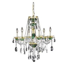 """Elegant Lighting 7810D24GN/RC Alexandria Collection Dining Room Hanging Fixture D24"""" x H27"""" Gold & Green Finish (Royal Cut Crystals)"""