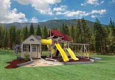 Playhouse swing set combo? Yes! Definitely different.