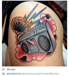 Instagram @fulviocaccaronetattoer boombox #tattoo #traditional