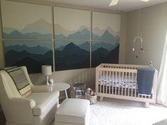 My nursery. Mountain mural on canvas.