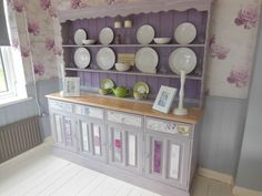 Quality One Off Large Bespoke Solid Pine Shabby Chic Welsh Dresser Painted with Annie Sloan Chalk Paint. Another beautiful set by Chic Boutique Furniture in Leicester. www.chicboutiqueuk.co.uk