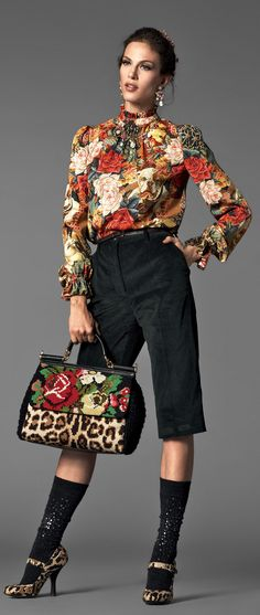 Dolce & Gabbana ~ I think I have seen this combo in some people of wal-mart posts. This Emperor is clearly not wearing any clothes! Baroque Fashion, Floral Fashion, Love Fashion, High Fashion, Fashion Show, Autumn Fashion, Womens Fashion, Fashion Design, Fashion Trends