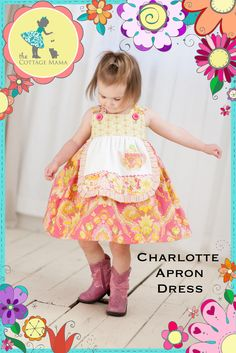 Girls Apron Dress PATTERN: Charlotte Apron Dress - Original Printed Sewing Pattern - Size 6 Month through 8 Years by TheCottageMama on Etsy https://www.etsy.com/listing/99608089/girls-apron-dress-pattern-charlotte