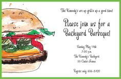 Personalized Juicy Burger Invitations