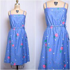 Vintage Hawaiian print cotton sundress / medium / 1970s Liberty House Malia blue midi dress