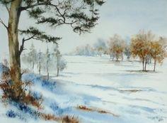 aquarelle,plaine,paysage,neige,hiver,pin,arbre