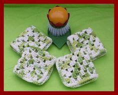 Beautiful Set Of 4 Crochet Dishcloths Cotton Washcloths