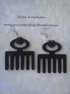 Bestseller!!! Afro Pick Earrings Black Acrylic Hand Painted by SheaKreations, $10.00