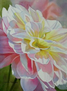 "Sharon Freeman watercolor - ""Yellow and Peach Dahlia"""