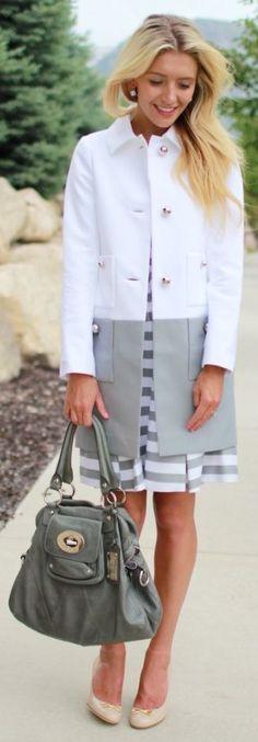 Kate Spade New-york Bi Tone Women's White And Grey Tailored Street Chic Trench Coat