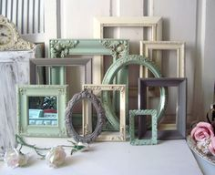 Mint Green and Gray Picture Frames Ornate by WillowsEndCottage, $145.00