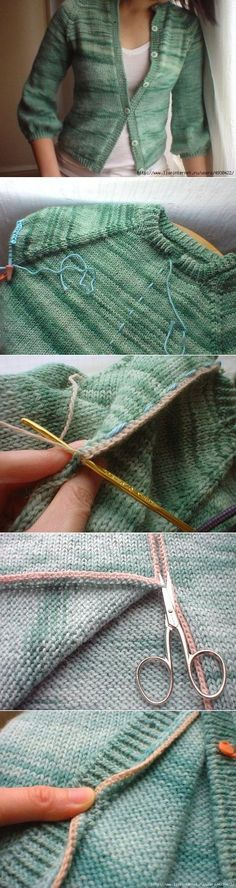 Crochet Patterns Sweter How to cut a knitted thing (Diy) / Knitting / Cl . Knitting Help, Knitting Stitches, Knitting Sweaters, Crochet Pullover Pattern, Knit Crochet, Knitting Patterns, Crochet Patterns, Knitting Projects, Diy Clothes