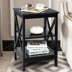 Made of selected quality and spray-painted finish board, this side table is waterproof with durable construction. Comes with two open compartments, this side table offers enough storage space for flower vase, decorative lamp or various reading materials. Smooth surface of end table prevents children and the elderly from injuring. And it is a perfect decoration with elegant and stylish design. Plus, it is easy to assemble with instructions and required accessories.