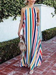 Bohemia Striped Halterneck Backless Maxi Dress
