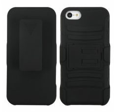 APPLE iPhone 5C Black Black Advanced Armor Stand Protector Cover (With Black Holster)