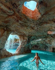 Beautiful natural cave pool in the Bahamas!😍⠀ 👉Double tap if you would swim here! Vacation Places, Dream Vacations, Vacation Spots, Vacation Travel, Bahamas Vacation, Vacation In Florida, The Bahamas, Bahamas Honeymoon, Atlantis Bahamas