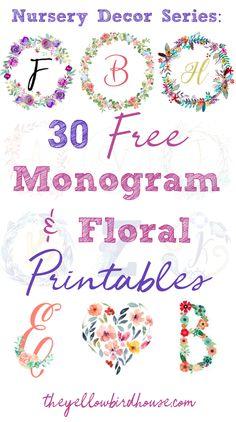 Monogram Wall Art, Free Monogram, Free Printable Monogram Letters, Monogram Fonts, Cricut Monogram, Nursery Monogram, Free Printable Banner, Printable Box, Baby Nursery Diy