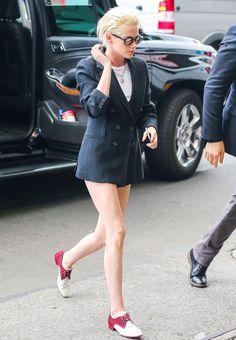 Kristen Stewart Just Wore a Blazer as a Dress via @WhoWhatWear
