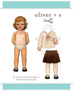 2 + 2 Blouse & Pleated Skirt - PDF Pattern - Oliver+S - $13.95 : Whimsical Designs