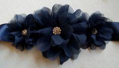 Navy Blue Bridal Sash (many colors to choose from)- Chiffon Flower Bridal Sash, Wedding Gown Sash, Belt, Satin Ribbon Sash, $45.00