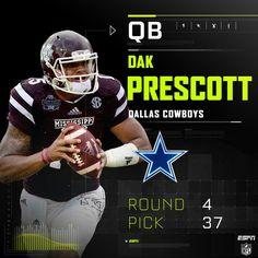Dallas gets their QB in Dak Prescott with their round pick. Nfl Football Teams, Dallas Cowboys Football, Nfl Jerseys, Football Baby, Cowboys 4, How Bout Them Cowboys, Dak Prescott, Love My Boys, Espn