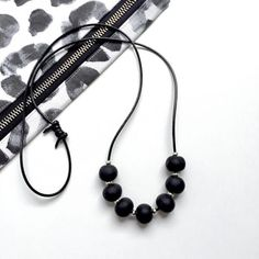 Black silver bead necklace – House of Poly