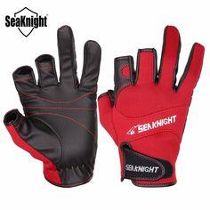 SeaKnight Sport Leather Fishing Gloves 3 Half-Finger Breathable Anti-Slip Glove Neoprene &PU Fishing Accessories 1Pair/Lot