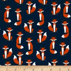 Kaufman Laguna Stretch Jersey Knit Fabulous Foxes Navy from @fabricdotcom  Designed by Ann Kelle of Robert Kaufman Fabrics, this high-quality lightweight stretch cotton jersey knit fabric features a smooth hand and 50% four-way stretch for added comfort and ease. This versatile fabric is perfect for making T-shirts, loungewear, yoga pants, and more! Colors include blue, white and brown.