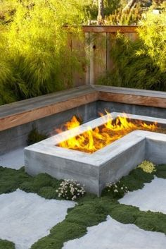 built-in seating around the fire pit
