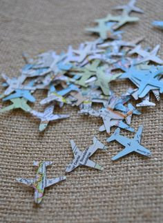 atlas airplane confetti, map confetti, wedding confetti, going away party confetti- 150 pieces on Etsy, $2.00