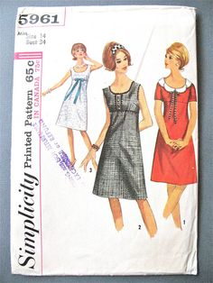 Uncut Simplicity 5961 1960s MISSES' OnePiece DRESS by Fancywork