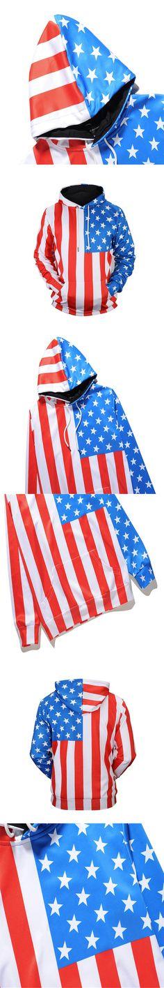 New Arrivals Men/Women Thin Sweatshirts 3d Print Stars Striped USA Flag Hooded Hoodies Unisex Pullovers