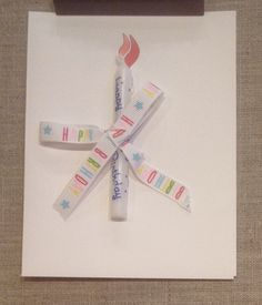 """Birthday, inside """"Indulge"""" $3.00 Candle and ribbon"""