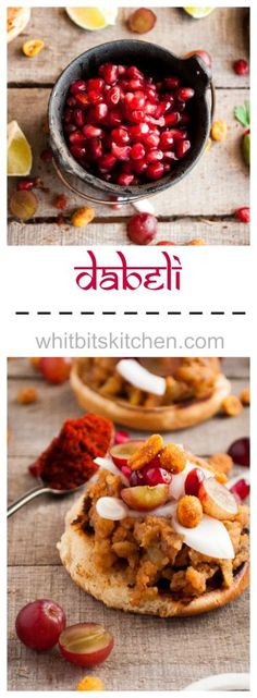 Dabeli is a Gujarati potato sandwich full of spices and topped off with onions, grapes, pomegranate seeds, and masala peanuts