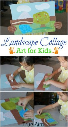 Landscape collage art for kids - Creation Story for Kids Day 3