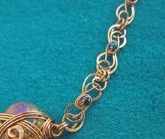 Copper Necklace With Vintage Fuschia Crystal by MysticMetalDesigns, $150.00