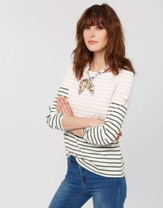 Explore our selection of Harbour Tops and discover our take on the Breton Stripe. Find nautical-inspired styles, floral patterns and more at Joules, today. Long Tops, Long Sleeve Tops, Long Sleeve Shirts, Striped Jersey, T Shirts For Women, Clothes For Women, Joules Uk, Lob Hairstyle, Knit Tops