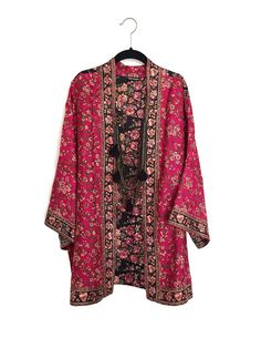 Silk Kimono jacket / cover up in black and pink by Bibiluxe