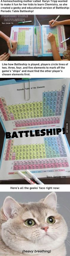 I'd have loved Chemistry a lot more with this Periodic Table Battleship Ich hätte Chemie mit diesem Periodensystem-Schlachtschiff viel mehr geliebt E Mc2, Physical Science, School Hacks, Home Schooling, Teaching Science, Science Geek, Funny Science, Kindergarten Science, Science Fun