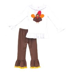 29.72$  Buy now - http://ali5os.worldwells.pw/go.php?t=32596626709 - Latest Thanksgiving Clothing Set For Kids Girls Fall Embroidery Turkey Top Polka Dots Cotton Ruffle Pants Children Suits T011