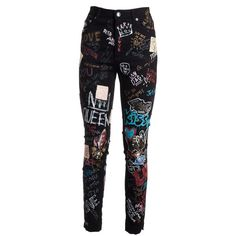 Graffiti Skinny Jeans (£330) ❤ liked on Polyvore featuring jeans, pants, bottoms, skinny leg jeans, skinny fit denim jeans, dolce gabbana jeans, button front jeans and skinny fit jeans