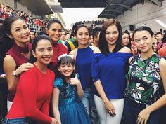 "This is the pretty Kathryn Bernardo and the pretty Julia Montes; twinsies in blue tops with casual jeans, smiling for the camera with the Kapamilya celebrity ladies while preparing for the taping of the ABS-CBN 2016 Christmas Station ID, ""Isang Pamilya Tayo Ngayong Pasko."" Indeed, they are pretty Kapamilyas, Goin' Bulilit alumnae, and Star Magic talents. #KathrynBernardo #JuliaMontes #JulKath #twinsies #twinsiesinblue #ABSCBNChristmasStationID #IsangPamilyaTayo #IsangPamilyaTayoNgayongPasko"
