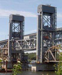 Groten Construction Thames River Bridge Installed 200' off air ground.  Projects - SNOSTOP® Snow Guards