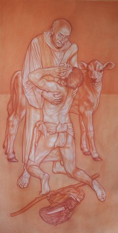 """""""the prodigal son: tribute to father Jacques Hamel"""" sanguine and white conté on sketch paper cm 95x190"""