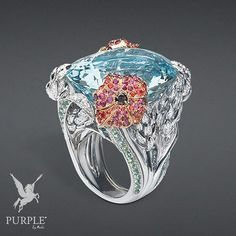 "Check out this stunning and mesmerizing ""Épi de blé"" ring in white and pink gold diamonds black diamonds aquamarine green and orange sapphires and rubies @dior #purplebyanki #diamonds #luxury #loveit #jewelry #jewelrygram #jewelrydesigner #love #jewelrydesign #finejewelry #luxurylifestyle #instagood #follow #instadaily #lovely #me #beautiful #loveofmylife #dubai #dubaifashion #dubailife #mydubai #Ring #WhitePinkGold #BlackDiamonds #Aquamarine #GreenOrangeSapphires #Rubies"
