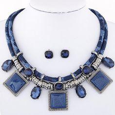 Sistemas de la Joyería de moda de Cristal de Resina Collares Cuadrados Collares y Aretes Conjunto de Joyas Collier Colar Para las mujeres Femme