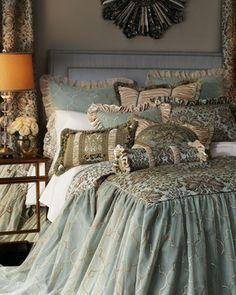 Shop luxury bedding sets and bedding collections at Horchow. Browse our incredible selection of full, queen, and king size luxury bedding sets. Bedding Master Bedroom, Home Bedroom, Bedroom Decor, Bedroom Ideas, Shabby Bedroom, Shabby Cottage, Deco Boheme, Luxury Bedding Sets, Luxury Linens