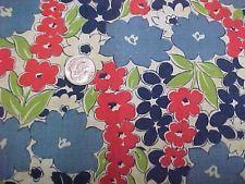 Vintage Antique Cotton Quilt Doll Fabric Print 20s Remnant Vibrant Flowers Scrap